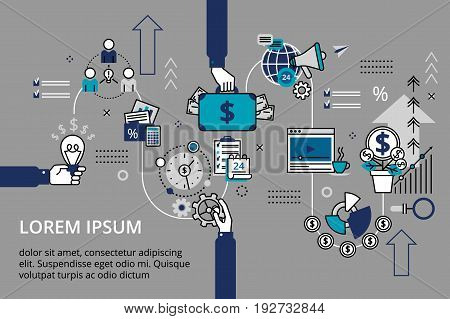 Creative vector illustration with a lot of business icons. Startup business and teamwork concept horizontal banner in flat line stile. Can be used for web graphic design and brochure.