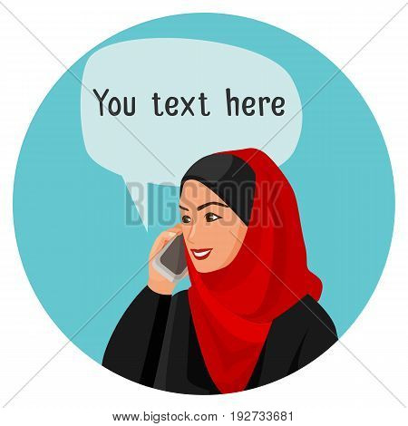 Arabian woman speaking over smartphone with cloud having space for conversation isolated on blue circle against white vector illustration