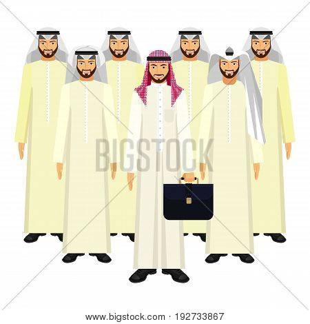 Group of Arabian business people wearing headscarves in good mood on white with boss holding briefcase vector colorful illustration