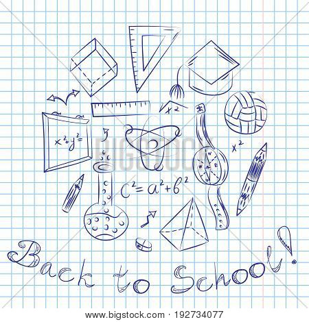 Hand Drawn School Symbols. Children Drawings of Ball BooksPencils Rulers Flask Compass Arrows Arranged in a Circle on a Sheet of Copybook in a Cage. Doodle Style. Vector Illustration.