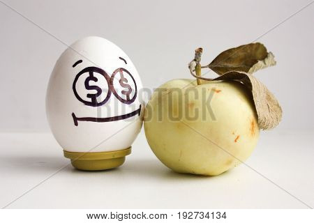 Business Concept. An Egg With Eyes