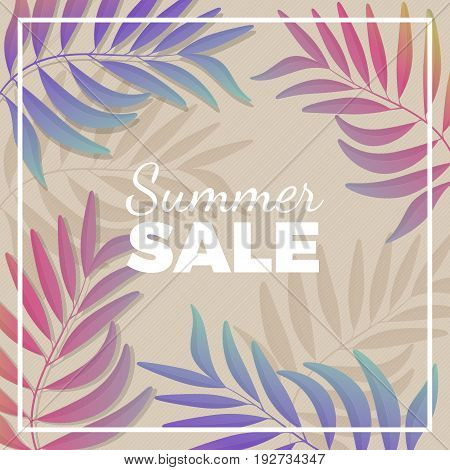 Summer sale promotional banner with tropical areca palm leaf branches in gradient pastel tones that surround white sign vector illustration.