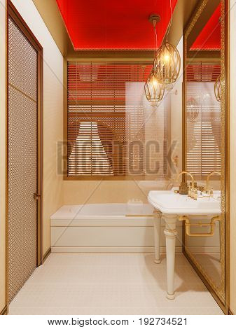3d illustration, interior design bathroom of a hotel room in a traditional Islamic style. Beautiful deluxe room Ramdan Kareem background interior view decorated with Islamic motifs.