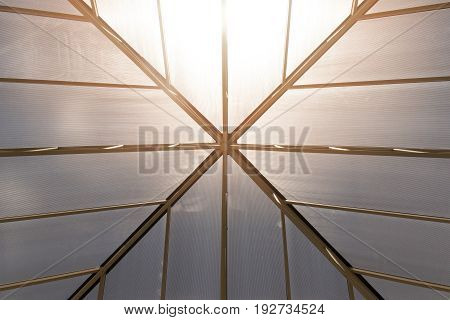 Up view Roof frame and Translucent roof abstract construction