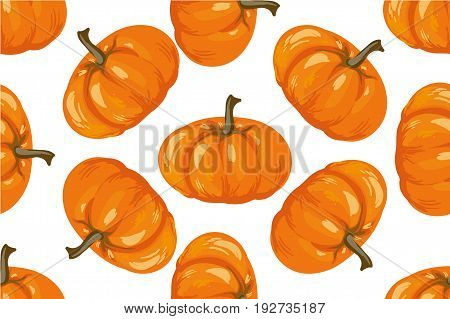 Vegetable pattern. Pumpkin seamless background art for stock