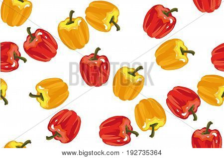 Yellow sweet pepper Red sweet pepper Green sweet pepper on white background seamless pattern. Kitchen Vector Illustration.