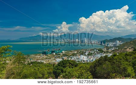 Looking out over Nha Trang bay vietnam on a beautiful sunny day.