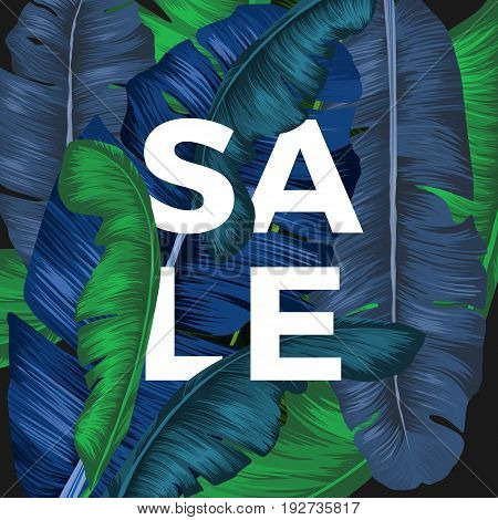 Sale inscription hidden in colorful long palm tree leaves seasonal promotion. Vector colorful poster showing seasonal price decrease