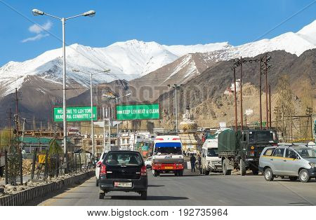 Leh India - April 28 2017 : Landscape of road to Leh City Snow on the peak of ice mountain