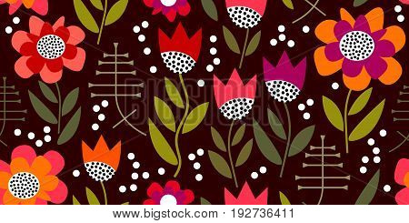 Seamless vector pattern inspired by 1950s textile design. Poppies and tulips on brown background.