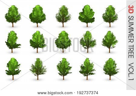 3D Summer set Tree collection object isolated on white volume 1
