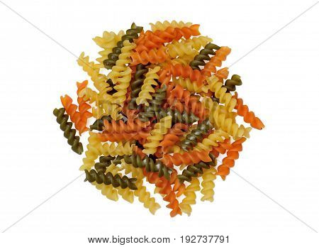 Isolated group of colorful pasta on white background