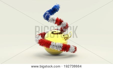 Christmas Tree In The Colors Of The Usa With Golden Ball