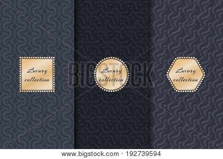 The set of dark backgrounds for a luxurious collection with gold labels. Geometric design vector.