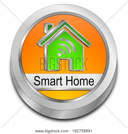 orange Smart Home Button - 3D illustration