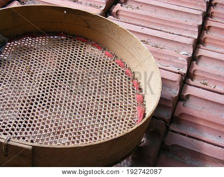 Manual sieve used for sifting cereals, originally handmade turkishly woven sieve,