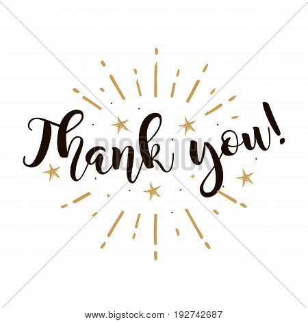 Thank you. Beautiful greeting card poster with calligraphy black text Word gold fireworks star. Hand drawn design elements. Handwritten modern brush lettering on a white background isolated vector