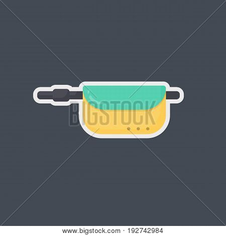 Waist bag vector flat icon flat design of travel hobby and adventure sticker isolated on the dark background vector illustration