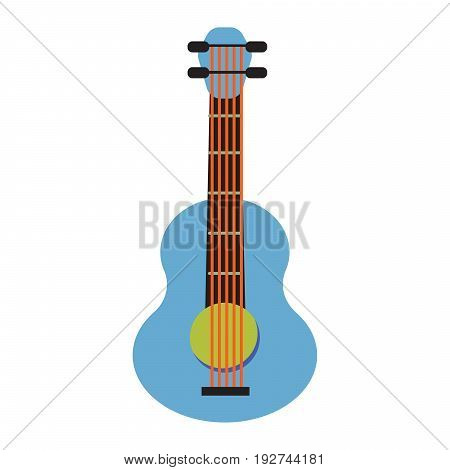 Pop art guitar cartoon vector illustration. Blue and green musical instrument isolated on white.
