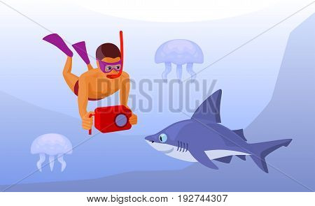 free diver with snorkel, fins and mask holds a waterproof camera looking at a shark and jellyfishes underwater, cartoon vector