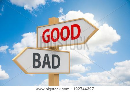 Road sign with text - good and bad - on white background represents dilemma concept three-dimensional rendering