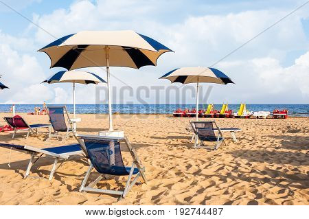 Umbrella Beach For Relaxing And Sun Set Beach.