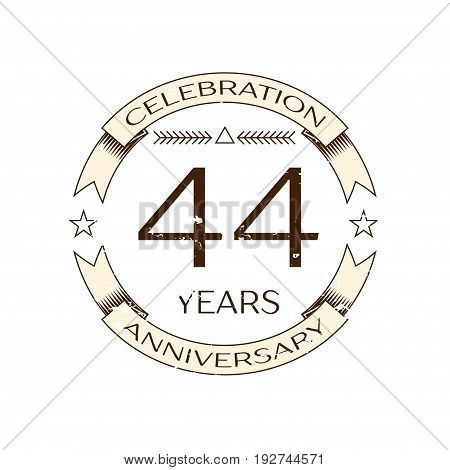 Realistic forty four years anniversary celebration logo with ring and ribbon on white background. Vector template for your design