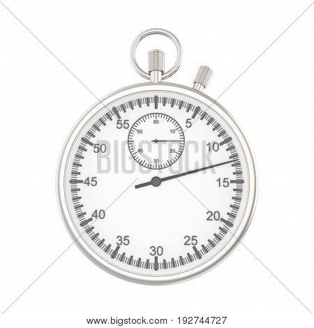 3D illustration isolated silver stopwatch on a white background