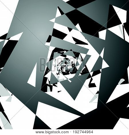 Chaotic, Messy Composition Abstract Geometric Illustration. Shattered Edgy Random Shapes.