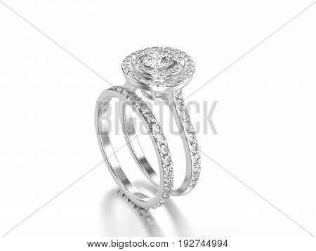 3D illustration white gold or silver matching band set rings with diamonds with reflection on a grey background
