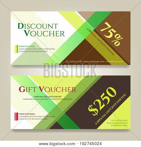 Gift voucher or gift card on colorful abstract stripe background