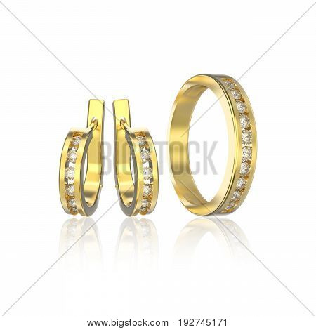 3D illustration yellow gold diamond ring and diamond earrings with reflection on a white background