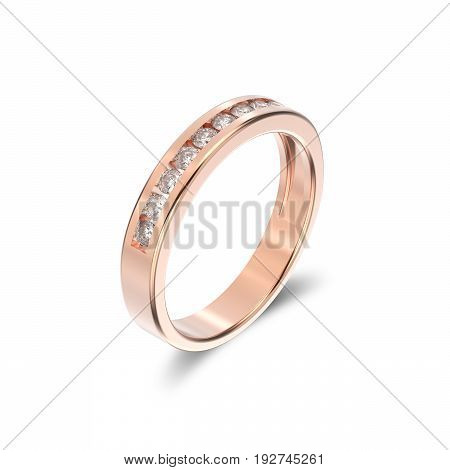 3D illustration isolated rose gold ring with diamonds with shadowon a white background