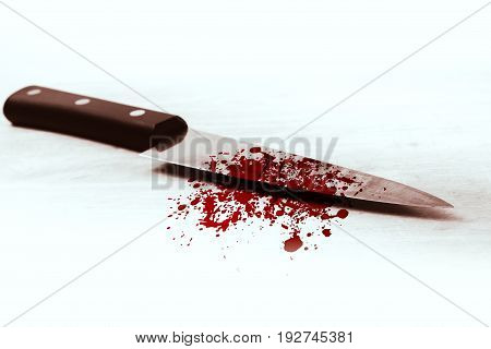 blood knife isolated on white, killer violance murderer concept.