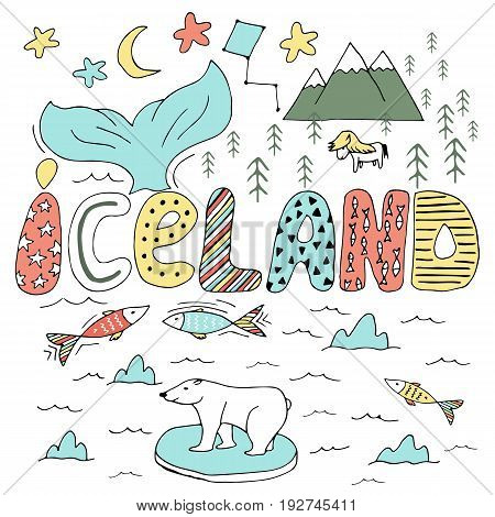 Cute Iceland Hand Drawn Cartoon Map. Vector Illustration With Travel Landmarks, Animals And Natural