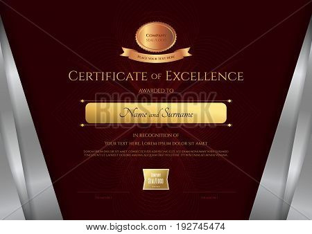 Luxury certificate template with elegant silver border frame Diploma design for graduation or completion