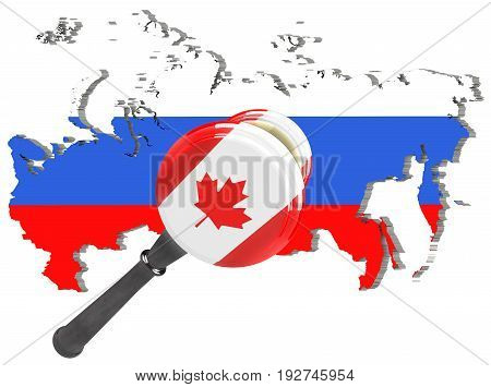 Map of Russia. Canada sanctions against Russia. Judge hammer Canada flag and emblem. 3d illustration. Isolated on white background.