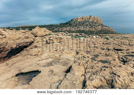 Beautiful Landscape Of Rocky Desert With Mountain On Cyprus