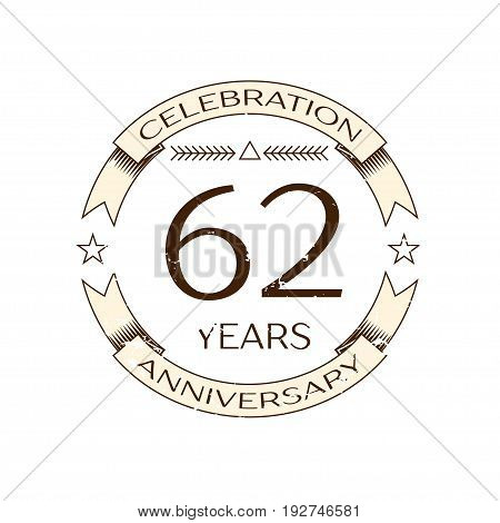 Realistic sixty two years anniversary celebration logo with ring and ribbon on white background. Vector template for your design