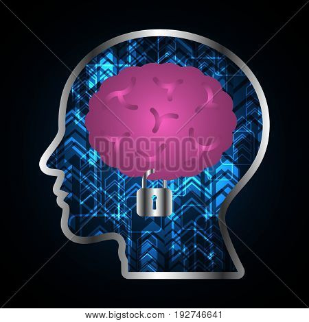 technology digital future abstract cyber security concept background brain lock human head vector illustration.