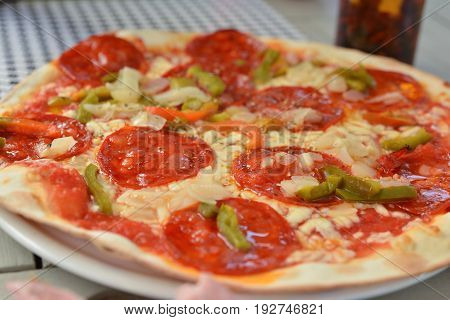 Pizza with chorizo salami Sharp sausages and pepper