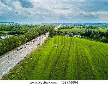 Aerial view of the Russian countryside in summer