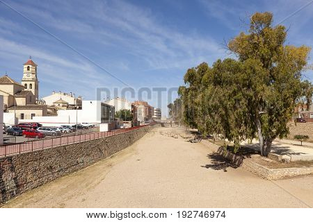 Dry river in the city of Fuente Alamo de Murcia Spain