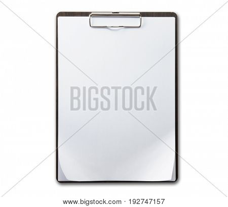 Brown wood grain clipboard with sheets of paper and  slightly folded corner as in real world use.  Isolated on pure white.
