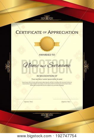 Portrait luxury certificate template with elegant red and golden border frame on Thai background Diploma design for graduation or completion