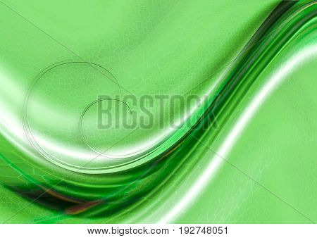 Textured mosaic cells greenish hues background with convex flowing green and white waves with spirals