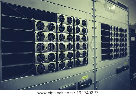 Network hardware in Data center with hard drives, Server room with equipments, internet technology concept