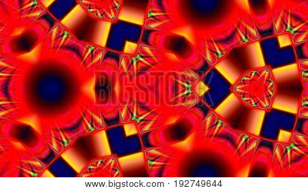 stylized abstract seamless pattern in fiery red and blue colors