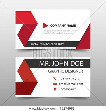 Red corporate business card name card template horizontal simple clean layout design template Business banner template for website