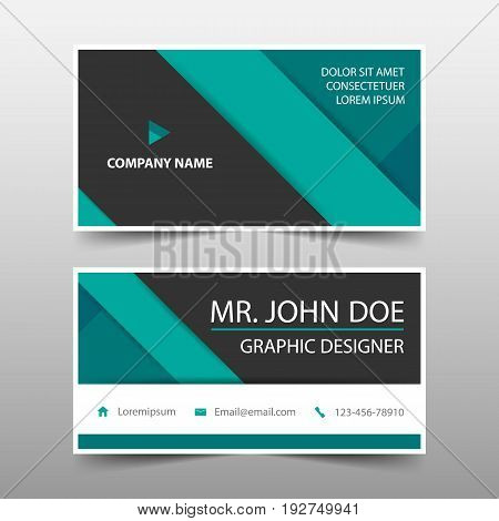 Green corporate business card name card template horizontal simple clean layout design template Business banner template for website